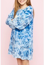 Hayden Los Angeles Blue Printed Long Sleeve Shift Dress