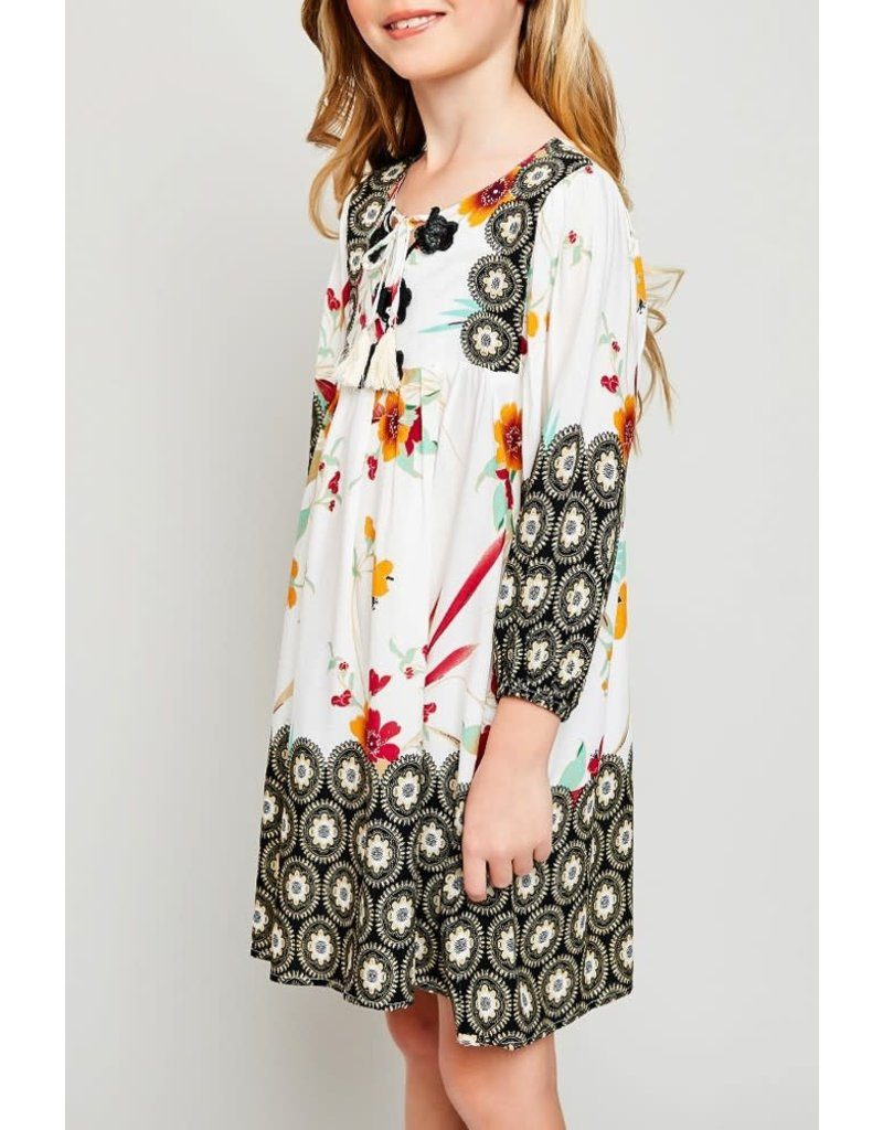 Hayden Los Angeles Tropical Border Print Peasant Dress
