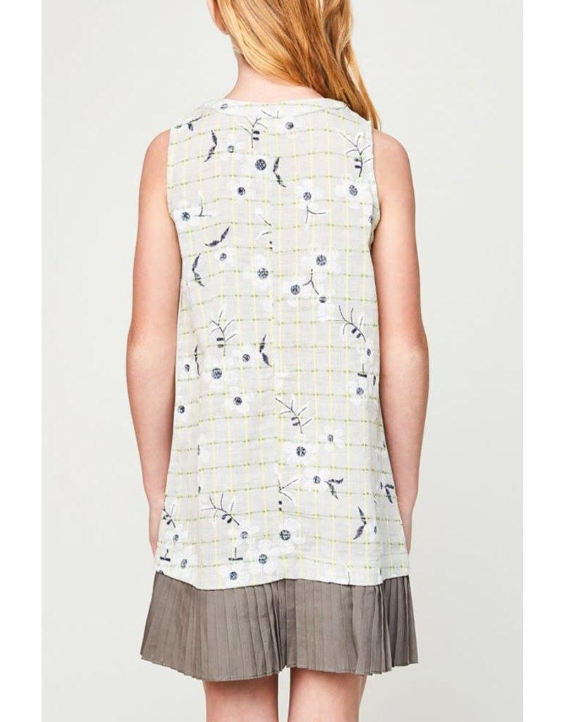 Hayden Los Angeles Embroidered Pleated Hem Dress