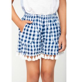 Hayden Los Angeles Blue & White Tassel Trim Gingham Shorts
