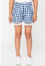Hayden Los Angeles Blue & White Tassel Trim Gingham Shorts