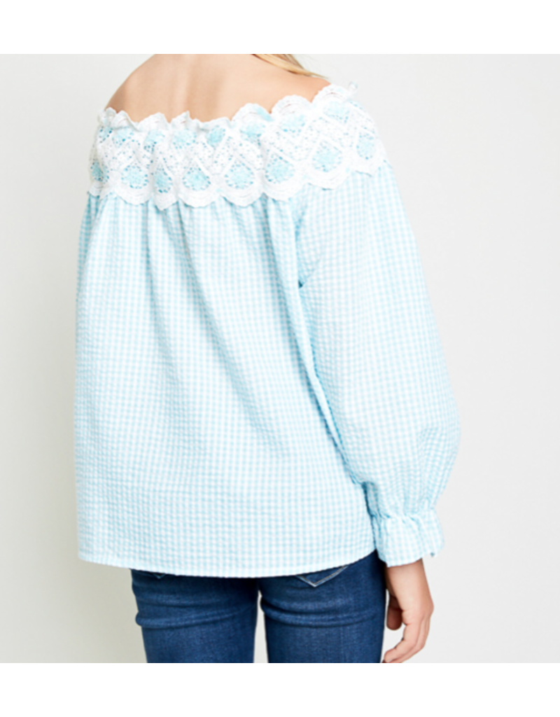 Hayden Los Angeles Turquoise Two Toned Lace Trim Off Shoulder Top