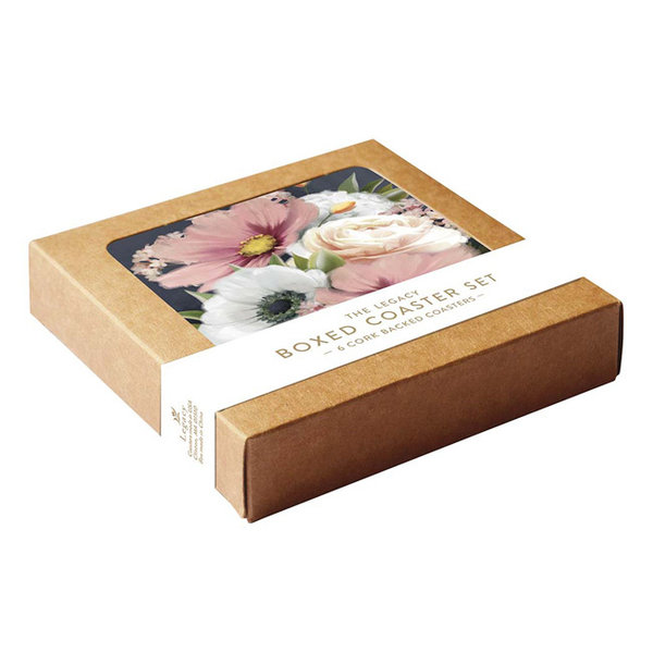 Legacy Pink and White Floral coaster set