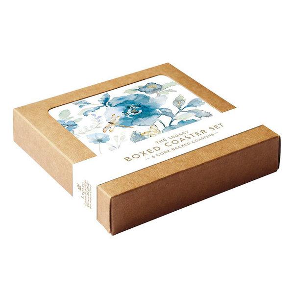 Legacy Blue Flowers & Dragonfly coaster set
