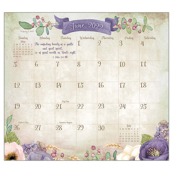 Legacy Faithful Heart and Home 2022 magnetic calendar pad with Scripture