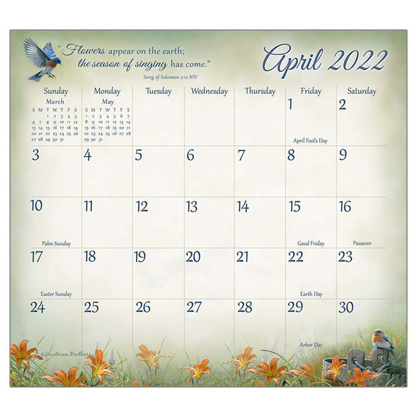 Legacy Songbirds of Faith 2022 magnetic calendar pad with Scripture