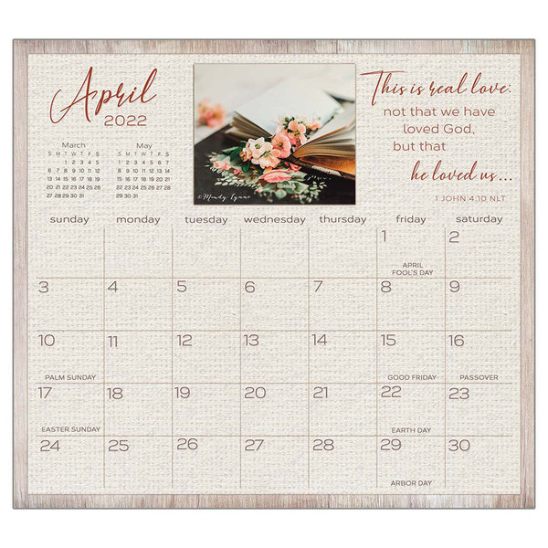 Legacy Living the Light 2022 magnetic calendar pad with Scripture
