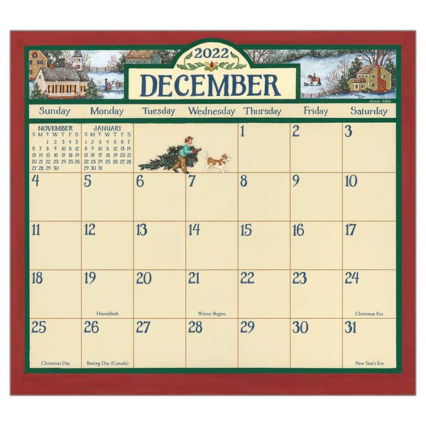 Legacy Bonnie White Folk Art 2022 magnetic calendar pad