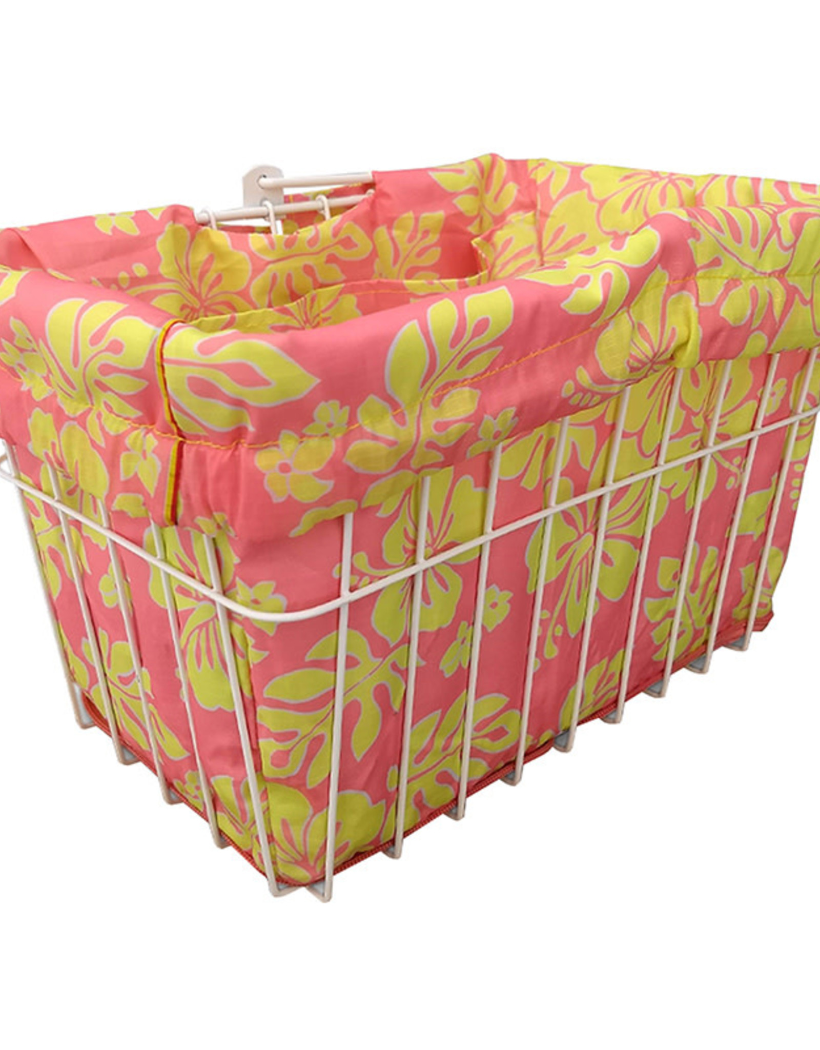 CRUISER CANDY Reversible Bike Basket Liner,  Standard, Hibiscus Pink & Yellow