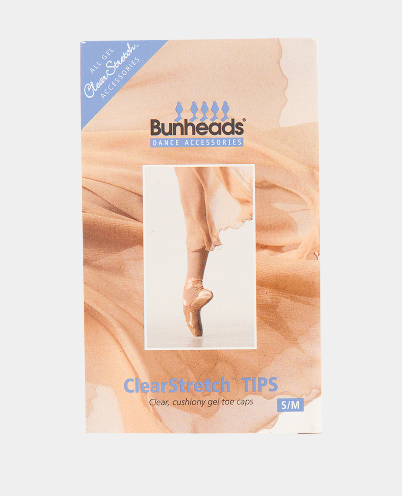 BUNHEAD CLEARSTRECH GEL TOE TIPS S/M FOR POINTE SHOES (BH150U)