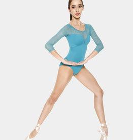 SO DANCA MAILLOT LIANE MANCHES 3/4 EN MICROFIBRE AVEC DÉTAIL EN DENTELLE FLORALE (RDE-1676)