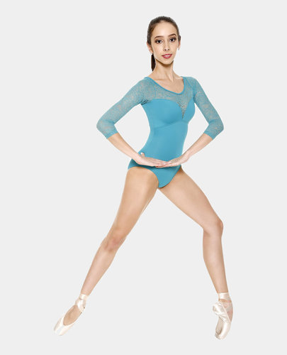 SO DANCA LIANE MICROFIBER 3/4 SLEEVE LEOTARD WITH FLORAL LACE DETAIL (RDE-1676)