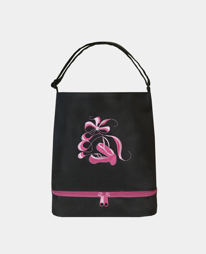 SASSI Embroidered Pointe Shoes on Black bag with shoe compartment