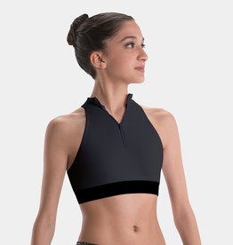 MOTIONWEAR PLUSH ELASTIC ZIP FRONT CROP TOP (3383)