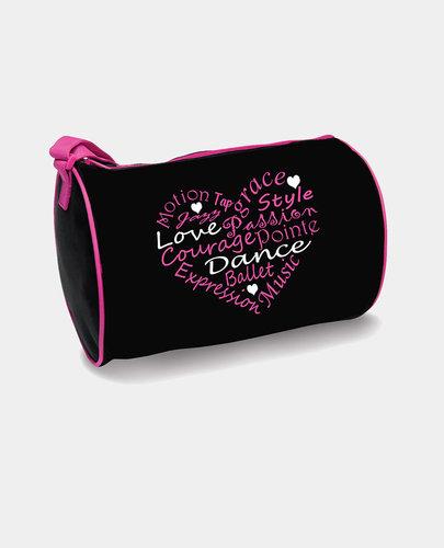 DANSHUZ DANCE WORDS-HEART DUFFEL