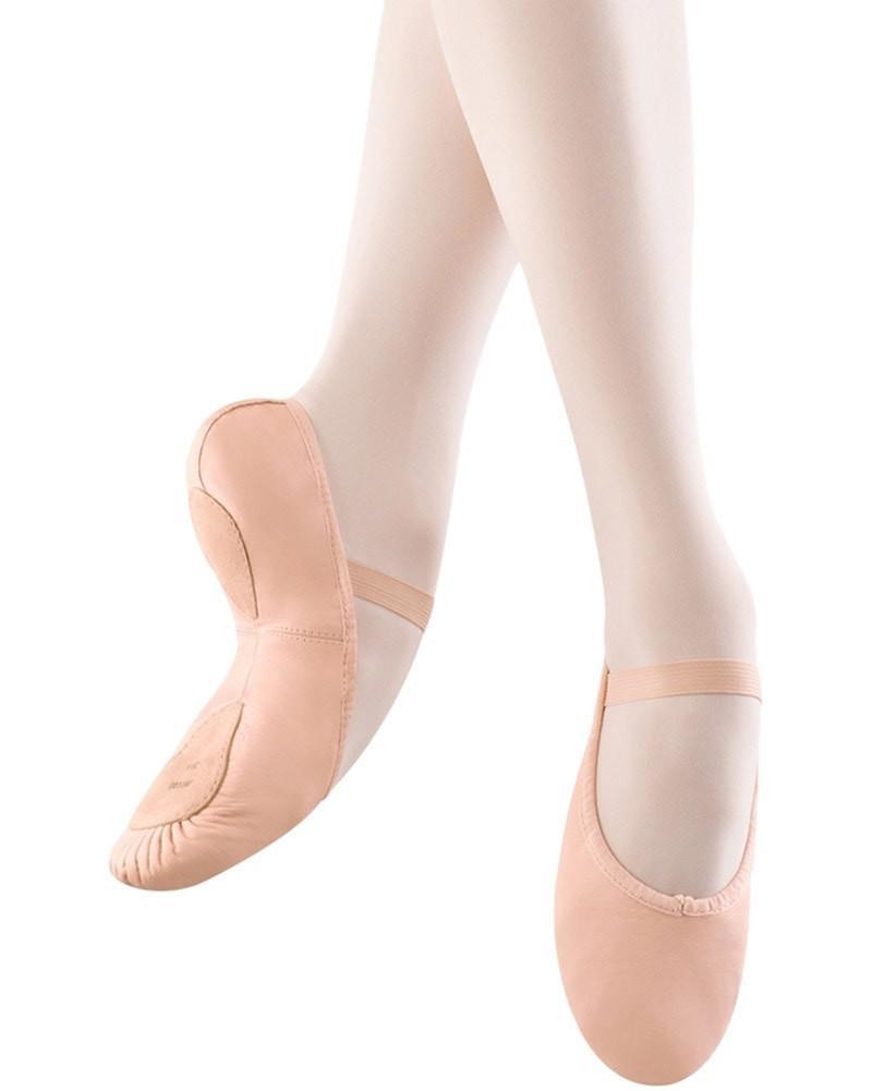 BLOCH DANSOFT ll LEATHER SPLIT SOLE W/STRECH ARCH INSERT GIRLS BALLET SLIPPERS (SO258G)