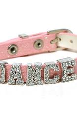 DANCE BRACELET ON PINK LEATHER BAND (AZ0041)