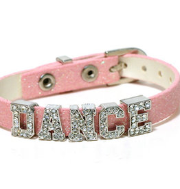 """""""DANCE"""" SUR BRACELET EN CUIR ROSE (AZ0041)"""