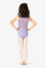 MIRELLA GATHERED FRONT DIAMANTE FLOWER MESH BACK CAMISOLE LEOTARD (M1214C)
