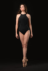 DOUBLE TWIST BACK HIGH NECK EMBOSSED MOTIF FRONT LEOTARD (MJ7218)