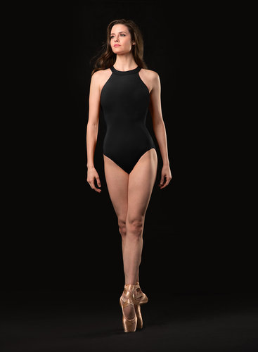 JOZETTE FOR MIRELLA DOUBLE TWIST BACK HIGH NECK EMBOSSED MOTIF FRONT LEOTARD (MJ7218)