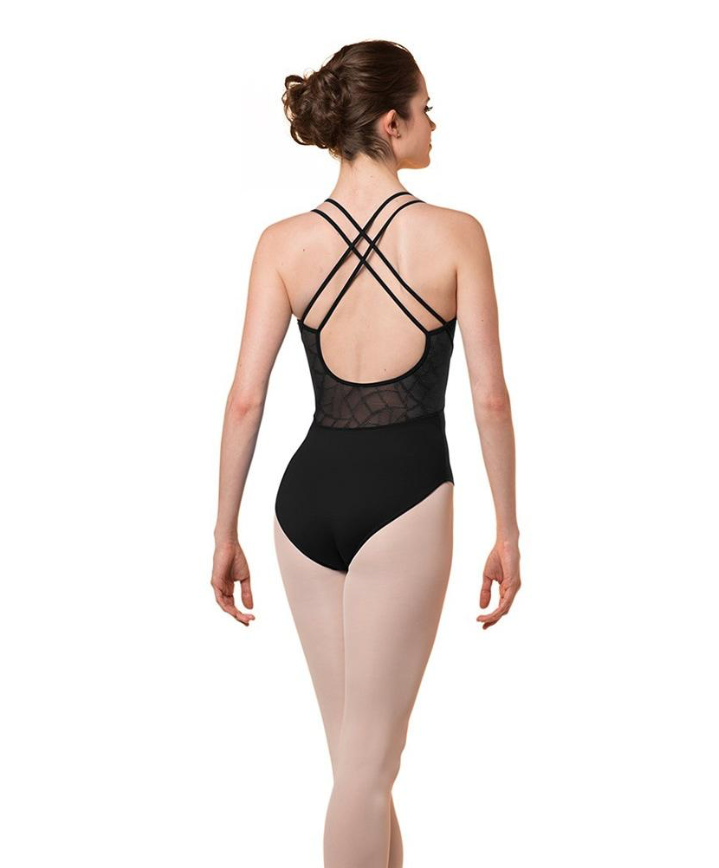 MIRELLA DOUBLE STRAP CROSS BACK MOSAIC MESH CAMISOLE LEOTARD (M2163LM)