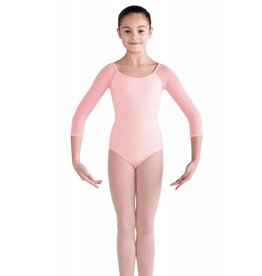 BLOCH SELENE DIAMOND MESH 3/4 SLEEVE KEYHOLE BOW BACK LEOTARD (CL9906)