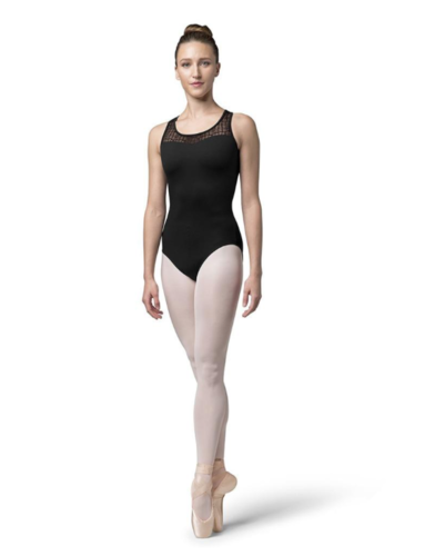 BLOCH AVIANA CHECK MESH CROSS BACK TANK LEOTARD (L4805)