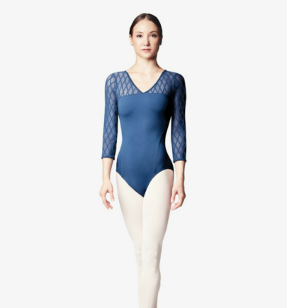 BLOCH LILA DIAMOND FLOCK MESH CROSS BACK 3/4 SLEEVE LEOTARD (L9516)