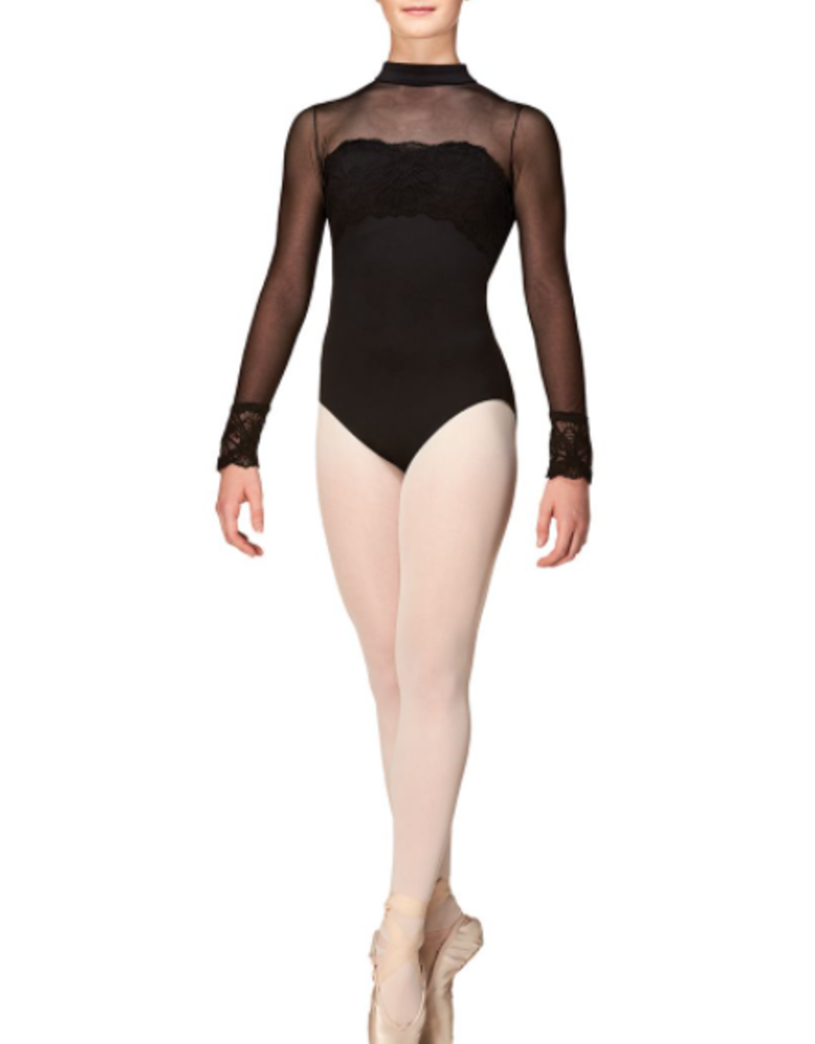 MONDOR SOFT MESH AND STRETCH LACE LONG SLEEVES LEOTARD (3645)