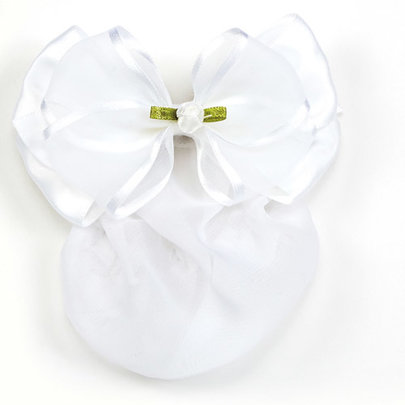DASHA DESIGNS SATIN/SHEER BOW WITH ROSEBUD SNOOD (4045)