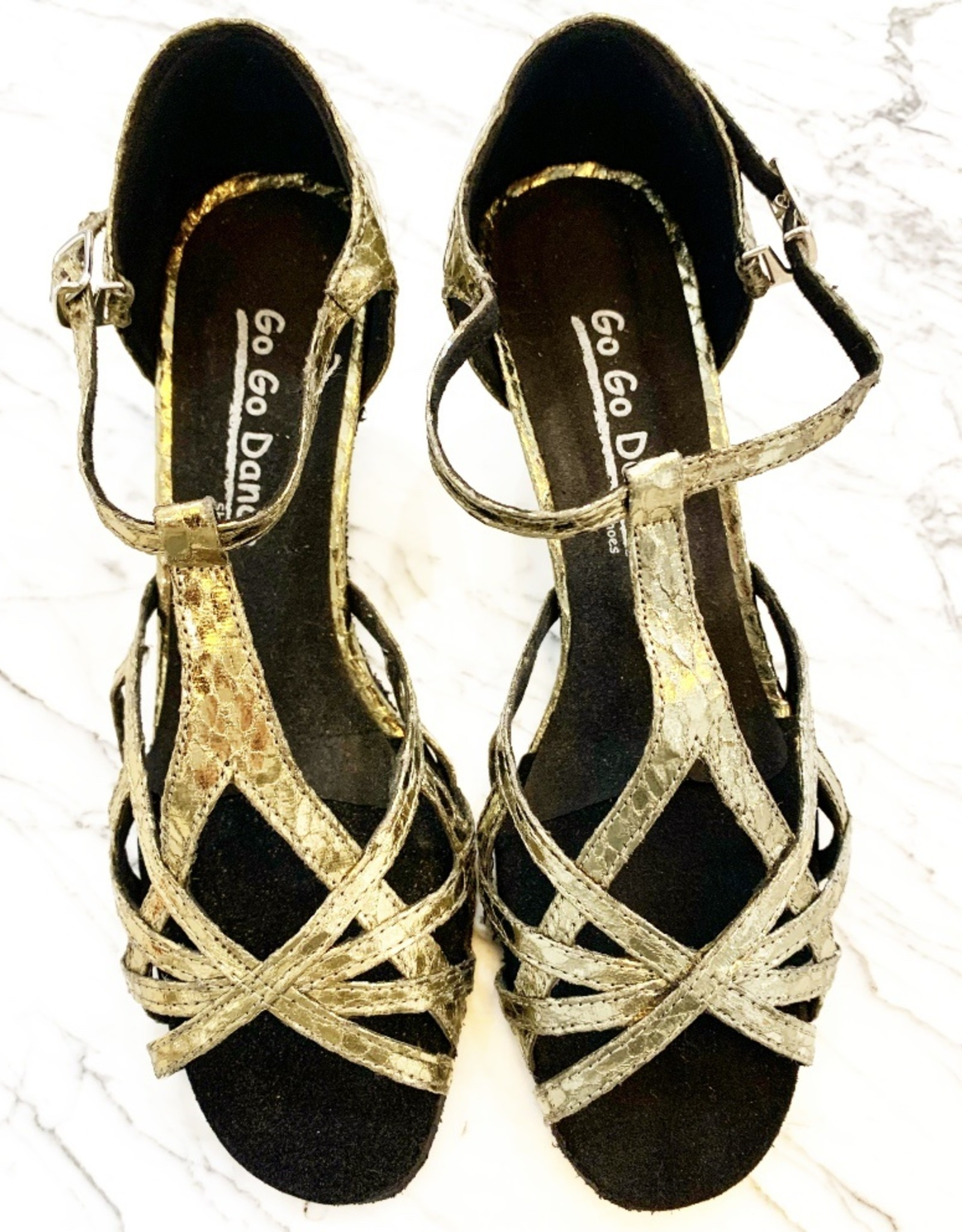 T-STRAP METALLIC BALLROOM DANCE SHOES (GO9914)