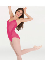 BODY WRAPPERS PETITE FLORAL MESH CAMISOLE LEOTARD (P1120)