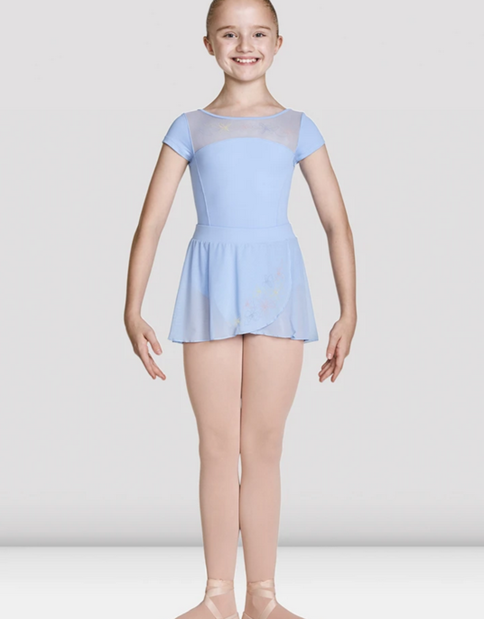MIRELLA HIGH NECKLINE EMBROIDERED MESH OPEN BACK CHILD CAP SLEEVE LEOTARD (M1530C)