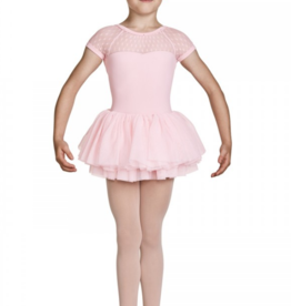 MIRELLA GATHERED NECK LINE SPOT MESH CAP SLEEVE TUTU LEOTARD (M1082C)