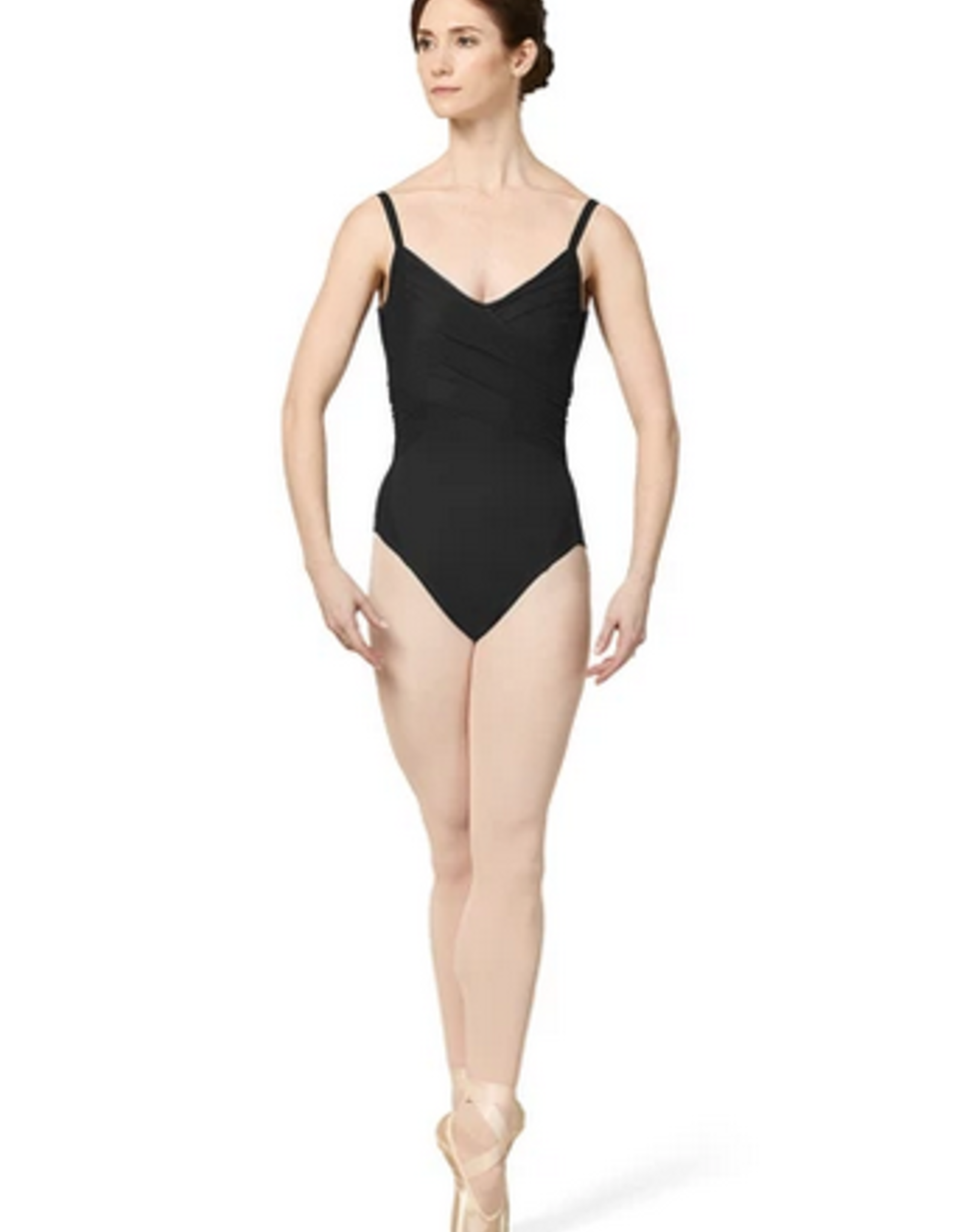 MIRELLA GATHERED MESH WRAP FRONT BODICE LEOTARD (M2172LM)