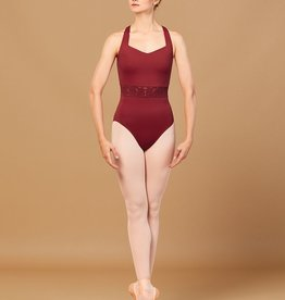 BLOCH ROSETTA WAIST EMBROIDERED TRIM V NECKLINE LEOTARD (L2965)