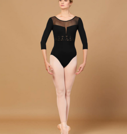 BLOCH JILLIAN WAIST EMBROIDERED TRIM 3/4 SLEEVE LEOTARD (L5516)