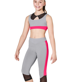 NEON CONTRAST V-WAIST CAPRI LEGGING WITH MESH CHILD (KA055P)