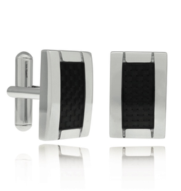 Steel Cuff Links with Carbon Fiber