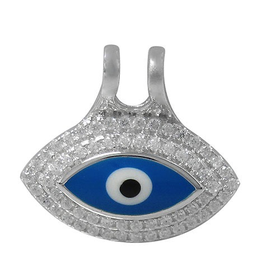 Sterling Silver Evil Eye CZ and Dark Blue Enamel Pendant