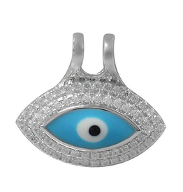 Sterling Silver Evil Eye CZ and Light Blue Enamel Pendant