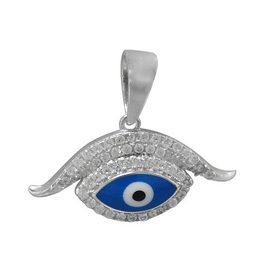 Silver Evil Eye CZ and Dark Blue Enamel Pendant