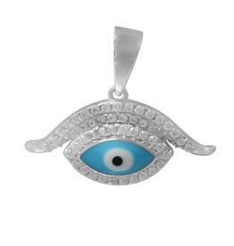 Silver Light Blue Enamel and CZ Evil Eye Pendant