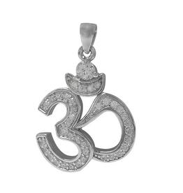 Silver Ohm CZ Rhodium Plated Pendant