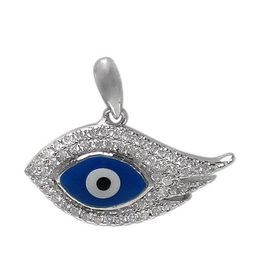 Silver Dark Blue Enamel and CZ Evil Eye Pendant