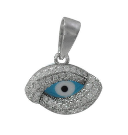 Silver Rhodium Finish CZ Evil Eye with Light Blue Enamel