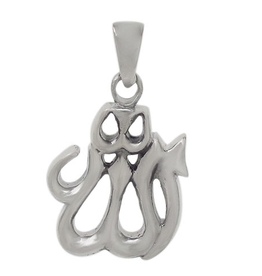 Silver Polished Allah Rhodium Plated Pendant