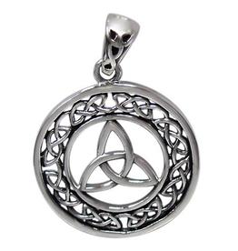 Silver Oxidized Celtic Triquetra Knot Pendant