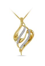 3D Leaf Diamond Pendant